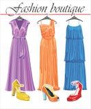 268cca2c6193 Τρία μακριά φορέματα θερινού μεταξιού με τα shoeses. Fashio διανυσματική  απεικόνιση