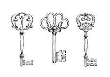 Τρία μεσαιωνικά εκλεκτής ποιότητας σκίτσα κλειδιών Στοκ Εικόνες