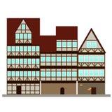 Τρία μεσαιωνικά σπίτια στην οδό Στοκ Φωτογραφία