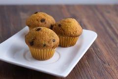 Τρία μικροσκοπικά muffins στο ορθογώνιο πιάτο Στοκ Φωτογραφίες