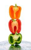 Τρία μισά πιπεριών που συσσωρεύονται Στοκ Φωτογραφίες