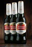 Τρία μπουκάλια της μπύρας της Στέλλα Artois Στοκ Φωτογραφία