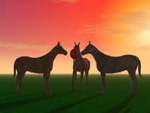 Τρία μυστήρια άλογα ελεύθερη απεικόνιση δικαιώματος