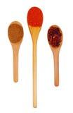 Τρία ξύλινα κουτάλια με το πιπέρι τσίλι που κόπηκε στα δαχτυλίδια, άλεσαν το κόκκινο πιπέρι και έψησαν το επίγειο κύμινο Στοκ εικόνες με δικαίωμα ελεύθερης χρήσης