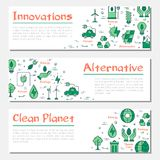 Τρία οριζόντια εμβλήματα οικολογίας διανυσματική απεικόνιση