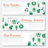 Τρία οριζόντια εμβλήματα οικολογίας ελεύθερη απεικόνιση δικαιώματος