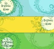 Τρία οριζόντια εμβλήματα του οργανικού καταστήματος με τη θέση για το κείμενό σας Hand-drawn ελεύθερη απεικόνιση δικαιώματος