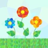 Τρία λουλούδια mandala γεωμετρίας στο λιβάδι Διανυσματική απεικόνιση