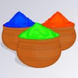 Τρία δοχεία της ζωηρόχρωμης gulal ή σκόνης χρωμάτων Ινδικό παραδοσιακό χρώμα για να γιορτάσει Holi στο ύφος κινούμενων σχεδίων επ Στοκ φωτογραφίες με δικαίωμα ελεύθερης χρήσης