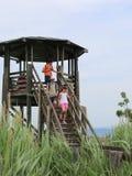 Τρία παιδιά κατεβαίνουν από τον πύργο παρατηρητήριων ενός φυσικού ρ Στοκ Εικόνες