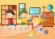 Τρία παιδιά που καθαρίζουν την τάξη διανυσματική απεικόνιση