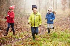 Τρία παιδιά που τρέχουν μέσω της χειμερινής δασώδους περιοχής στοκ εικόνες