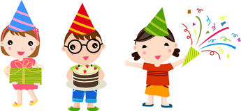 Τρία παιδιά στη γιορτή γενεθλίων Στοκ φωτογραφίες με δικαίωμα ελεύθερης χρήσης