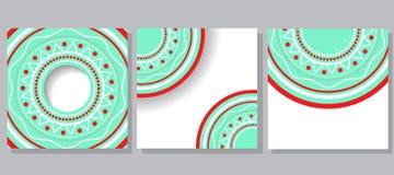 Τρία παραδείγματα των καρτών με την κυκλική διακόσμηση Στοκ εικόνες με δικαίωμα ελεύθερης χρήσης