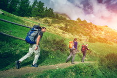 Τρία πεζοπορώ στα ελβετικά βουνά Στοκ φωτογραφία με δικαίωμα ελεύθερης χρήσης