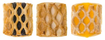 Τρία περίκομψα κέικ με τις διαφορετικές γαρνιτούρες Στοκ φωτογραφία με δικαίωμα ελεύθερης χρήσης