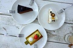 Τρία πιάτα του επιδορπίου Στοκ Εικόνες