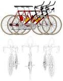 Τρία ποδήλατα στο διάνυσμα 05 φυλών γραμμών ελεύθερη απεικόνιση δικαιώματος