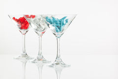 Τρία ποτήρια των εξοπλισμών σαμπάνιας και γκολφ Στοκ φωτογραφία με δικαίωμα ελεύθερης χρήσης