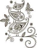 Τρία πουλιά σε έναν κλάδο floral απεικόνιση σχεδίου καρτών ανασκόπησης φόντου Στοκ φωτογραφία με δικαίωμα ελεύθερης χρήσης