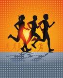 Τρία που τρέχουν διανυσματική απεικόνιση