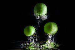 Τρία πράσινα μήλα που καταβρέχουν στο νερό στο μαύρο υπόβαθρο διάστημα αντιγράφων Στοκ φωτογραφίες με δικαίωμα ελεύθερης χρήσης