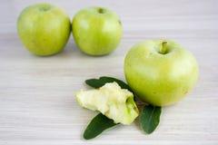 Τρία πράσινα μήλα Στοκ Φωτογραφία