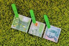 Τρία πράσινα τραπεζογραμμάτια 100 ευρο- 100 σουηδικά crownes και 200 σουηδικά crownes στους πράσινους γόμφους ενδυμάτων στο πράσι Στοκ εικόνα με δικαίωμα ελεύθερης χρήσης