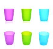Τρία πλαστικά φλυτζάνια Στοκ Φωτογραφίες