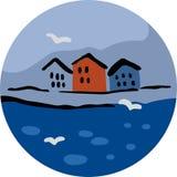 Τρία σπίτια και Seagulls Στοκ Εικόνα