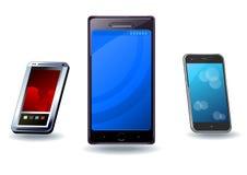 Τρία σύνολο smartphone Στοκ Εικόνες