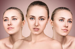 Τρία τέλεια πρόσωπα του κοριτσιού ομορφιάς Στοκ Φωτογραφία