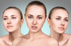 Τρία τέλεια πρόσωπα του κοριτσιού ομορφιάς Στοκ εικόνα με δικαίωμα ελεύθερης χρήσης