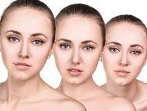Τρία τέλεια πρόσωπα του νέου κοριτσιού Στοκ φωτογραφία με δικαίωμα ελεύθερης χρήσης