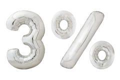 Τρία τοις εκατό επιχρωμιώνουν τα μεταλλικά μπαλόνια χρώματος στο λευκό Στοκ Φωτογραφίες