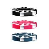 Τρία τσιπ πόκερ που απομονώνονται Στοκ εικόνα με δικαίωμα ελεύθερης χρήσης