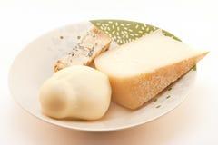 Τρία τυριά στο πιάτο Στοκ φωτογραφίες με δικαίωμα ελεύθερης χρήσης