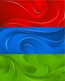 Τρία υπόβαθρα με τα κύματα Ελεύθερη απεικόνιση δικαιώματος