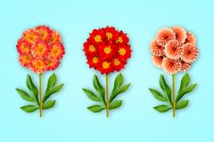 Τρία φανταχτερά λουλούδια σε ένα μπλε υπόβαθρο Η σύνθεση των κόκκινος-πορτοκαλιών νταλιών και των τουλιπών Αντικείμενο τέχνης r στοκ εικόνες