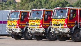 Τρία φορτηγά της Renault της γαλλικής αστικής ασφάλειας Στοκ Φωτογραφία