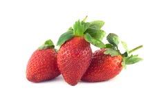 Τρία φρούτα φραουλών που απομονώνονται στην άσπρη κινηματογράφηση σε πρώτο πλάνο Στοκ Φωτογραφίες