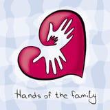 Τρία χέρια της οικογένειας στην καρδιά Απεικόνιση αποθεμάτων