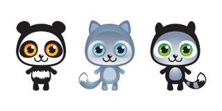 Τρία χαριτωμένα αστεία ζώα μωρών που τίθενται Στοκ Εικόνες