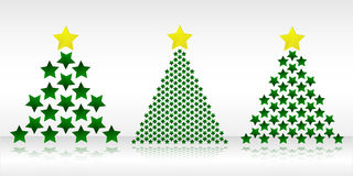 Τρία χριστουγεννιάτικα δέντρα φιαγμένα από αστέρια Στοκ φωτογραφία με δικαίωμα ελεύθερης χρήσης