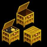 Τρία χρυσά αρχαία στήθη και μαγικό βιβλίο Στοκ Εικόνες