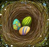 Τρία χρωμάτισαν τα αυγά Πάσχας s στη φωλιά με το σανό, που διακοσμήθηκε με τα μπλε και άσπρα λουλούδια, σύνθεση Πάσχας, ελεύθερη απεικόνιση δικαιώματος