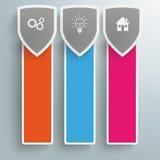 Τρία χρωματισμένα στενόμακρα εμβλήματα ασπίδων προστασίας Ελεύθερη απεικόνιση δικαιώματος