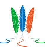 Τρία χρωματισμένα φτερά διανυσματική απεικόνιση