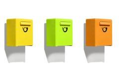 Τρία χρωματισμένο κιβώτιο επιστολών Στοκ Εικόνα