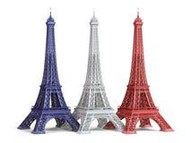 Τρία χρώματα του Άιφελ Towerin της σημαίας της Γαλλίας που απομονώνεται σε ένα μόριο Στοκ Φωτογραφία
